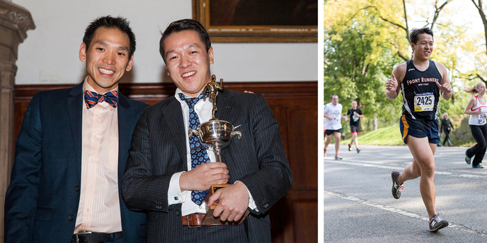 Dave Lin and the filmmaker at Awards Night 2013 - a rare sight of Da running a race (photo by Ben Ko).