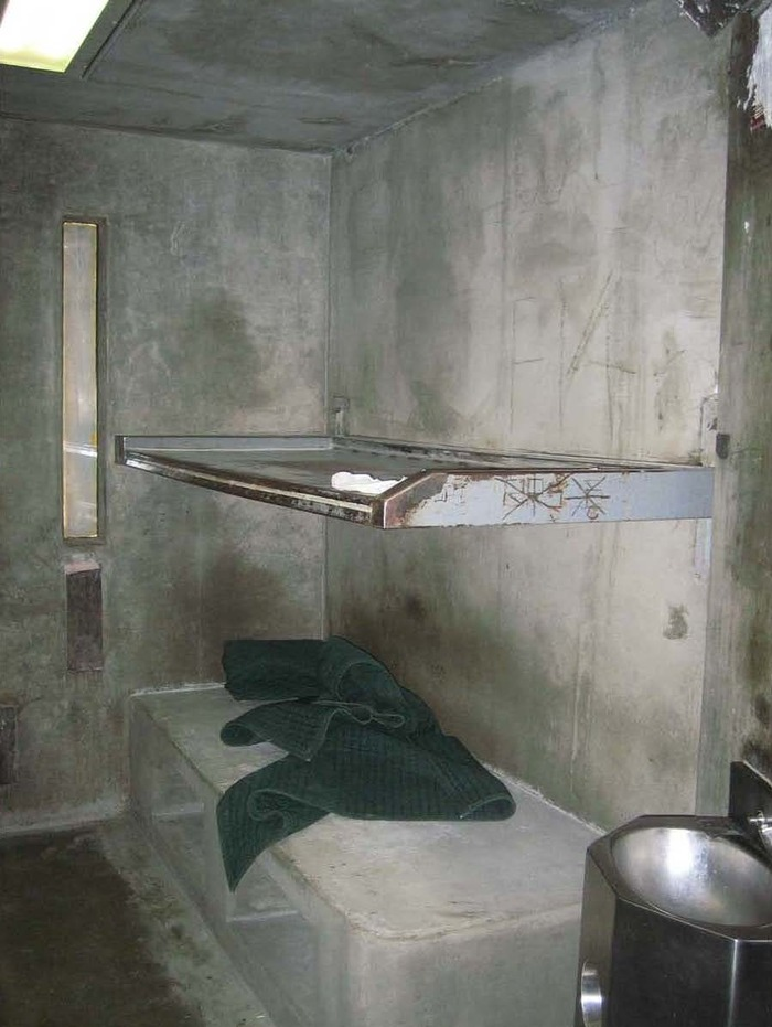 Suicide watch cell, Building 6A, Facility D, Wasco State Prison, California (August 1st, 2008). This photograph document was submitted as evidence in the Brown vs. Plata class action lawsuit (Supreme Court of the United States, May 2011). Photo: Anonym