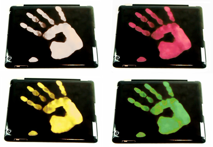 Several colors of fingerprints on cases for iPad. Thickness of cases is 0.3 mm only!