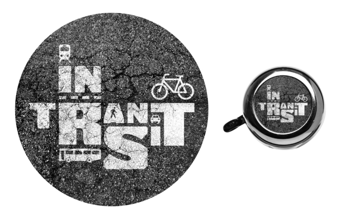 """The """"In Transit"""" sticker and bike bell"""