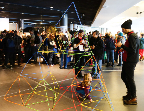 Built by a nine-year-old at Oslo maker fair. Note the visible stress in the lower pyramids!