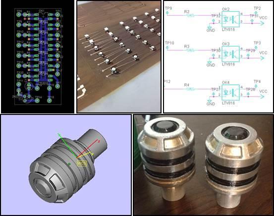 LED Distribution layout, LED array on flex PCB, Optoisolator Circuit, 3D Printed Hilts, 3D Design of Hilt