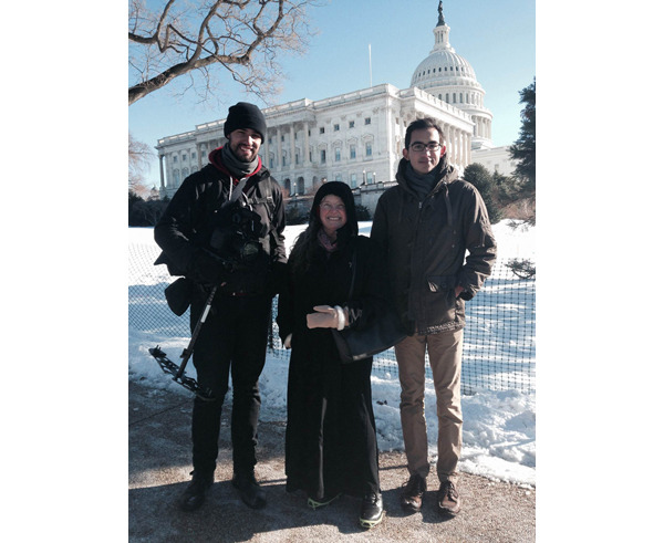Videographer Stephen Diaz (Left), Frederica (Center), Producer John Gleason (Right) at the March for Life on Jan. 22.