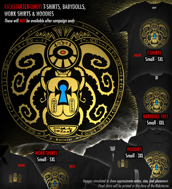 Supporter T-shirts, Babydolls, Work Shirts, and Hoodies can be added to any level.