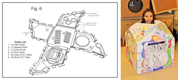 Exploded parts drawing from the assembly instructions and my daughter's work of art in progress.
