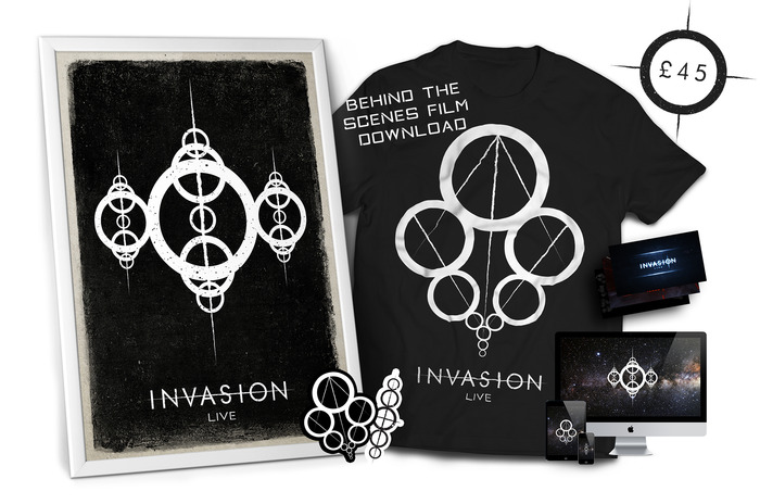 £45 - EXCLUSIVE ART PACKAGE - You will receive an exclusive art package which contains the Invasion:Live t-shirt, behind the scenes production postcards, stickers, physical poster and concept artwork from the live performance. All previous perks included.