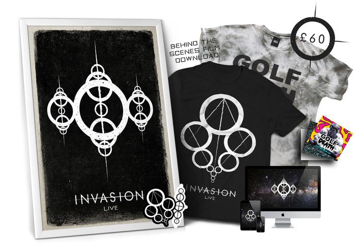 £60 - GOLF DEATH T-SHIRT BUNDLE - We have teamed up with independent clothing company Golf Death to bring you this exclusive bundle. You will receive both the Invasion:Live t-shirt & one lucky dip t-shirt from Golf Death. Also all previous perks.