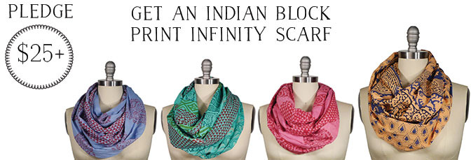 Scarves made from 100% Cotton, block printed by hand in India, over-dyed in small batches and sewn in the USA. A $32 retail value.