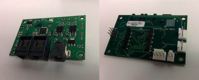 This is our custom printed circuit board (PCB) that integrates an Atmel processor and an Xbee wireless module.