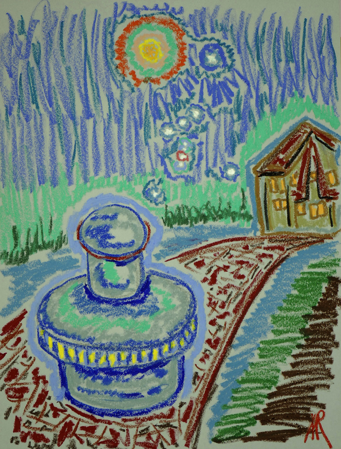 """Concept Drawing of FEG Fuelles Electric Generator by Andrei Ralko. Oil Pastel 18"""" x 24"""""""