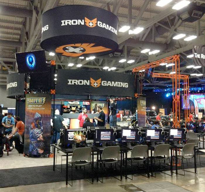 The Iron Gaming booth from RTX 2013, where the Grifball championship would be played