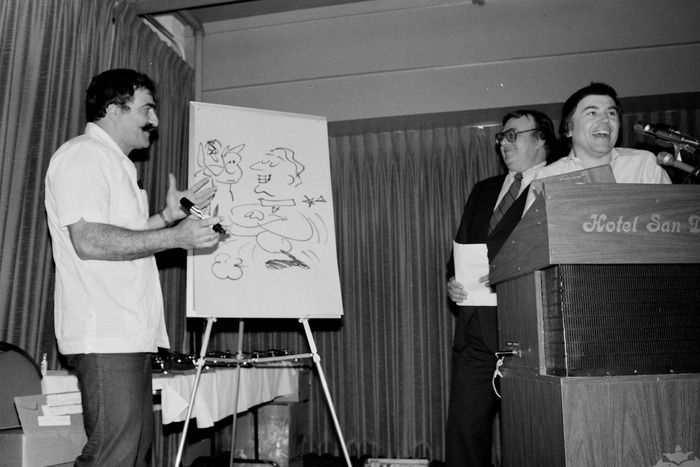 Sergio Aragones, Shel Dorf, and Walter Koenig at the Inkpot Awards in San Diego, 1982.
