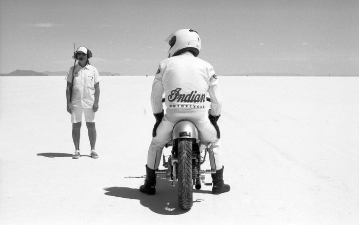 On the starting line at the Bonneville Speed Week
