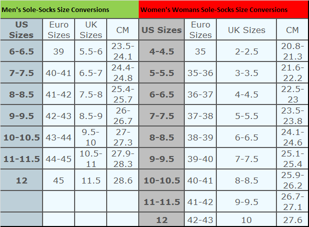 Adult sizing chart for reference