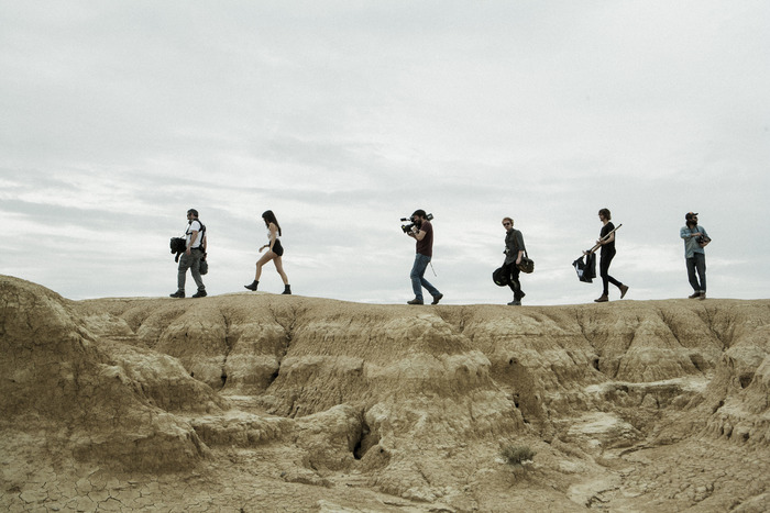 Some of the crew all together in the Bardenas desert, Spain