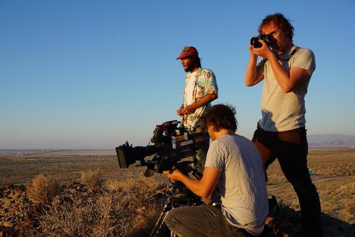 Mike Valentine shooting stills in 35mm between takes
