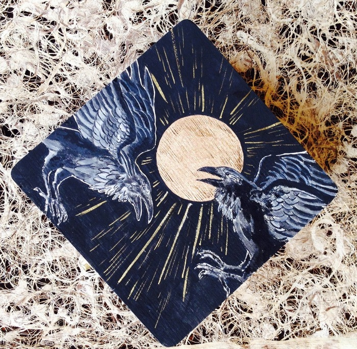 Raven wooden box with CD inlay