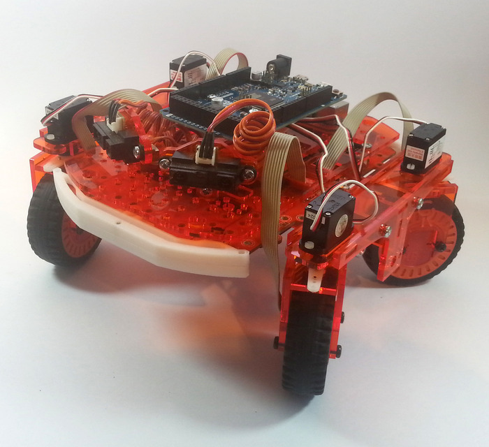 LEO fitted with our experimental 'Mars Rover' style rocker suspension and servo steering.