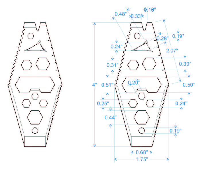 Design with dimensions prior to laser engraved mockups for our Mantis tool!