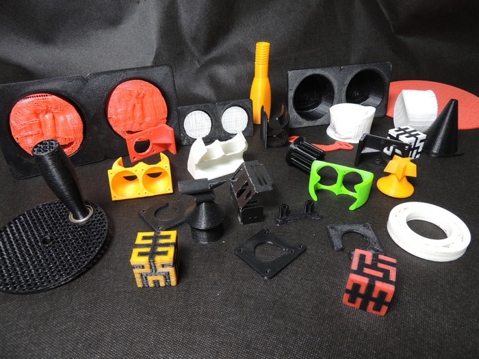 A few of the many 3D prints completed on the D3D Print Heads