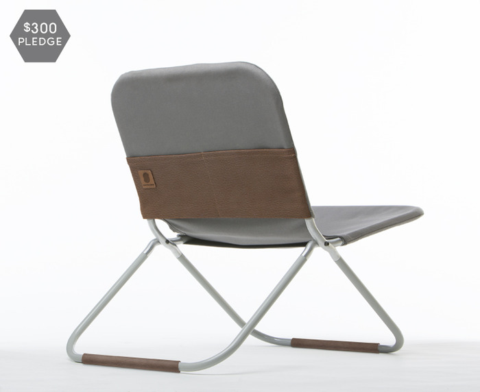 One #8 duck Martexin waxed canvas chair with veg tan leather pocket and leg cuffs. Your choice of black, grey or olive canvas.