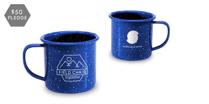 A pair of enamel camp mugs with the Field Chair emblem and Shape Field Office logo on each.
