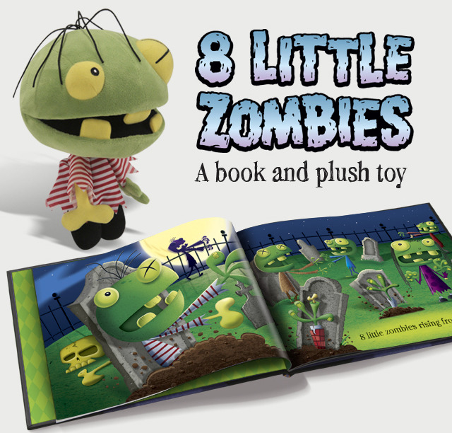 """The book and Zombie plush combo!  """"Eight Little Zombies, rising from the dead.  One got shot and lost his head...""""  We're printing our hardcover title in the USA on super high quality art paper!  Includes the 8LZ limited edition signed print!"""