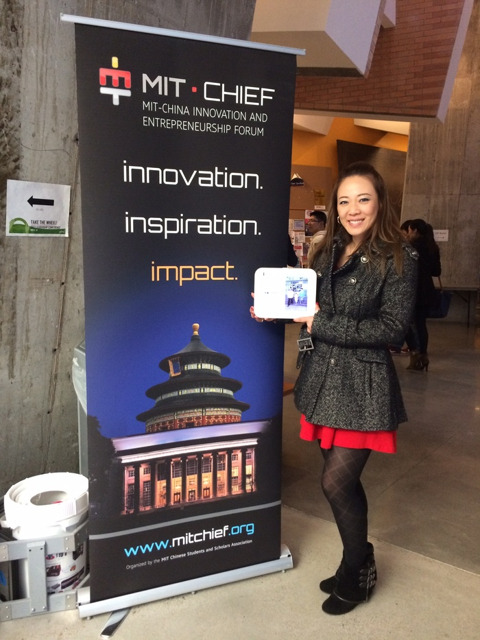 Alex showing off our functional prototype at MIT's China Innovation and Entrepreneurship Forum