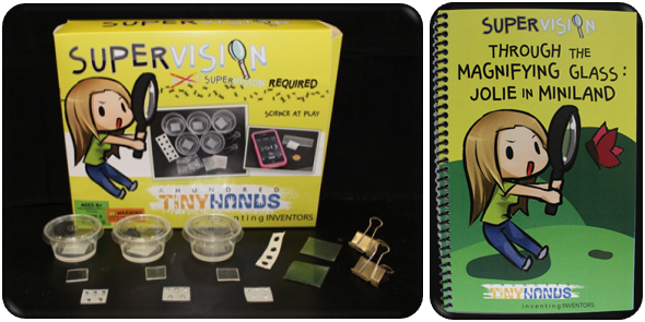 This SuperVision Inventor Kit includes:  Small, medium, and large lens molds, Lens quality plastic, Make-it-yourself tools, One pre-made lens, Storybook