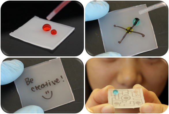 These SUPERHYDROPHOIC materials repel water! Watch how water droplets will follow a maze to avoid touching the superhydrophobic areas! Even make your own mazes!