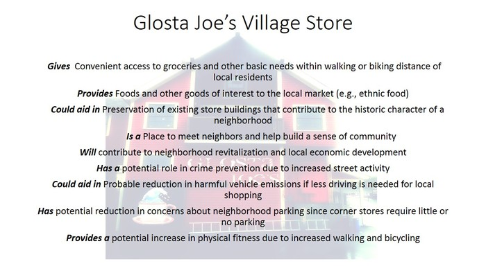 What can Glosta Joe's DO for the Village of Magnolia? ALL THIS AND MORE!