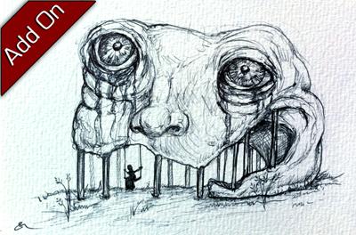 Sample hand-drawn postcard sketch