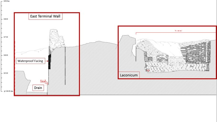 Architectural section drawing done by the architectural firm in 2013 showing the relationship between East Terminal Wall and the Laconicum (circular steam room).