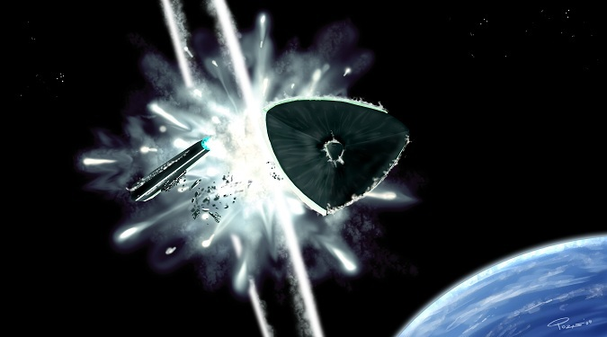 A starship explodes as its countdown expires