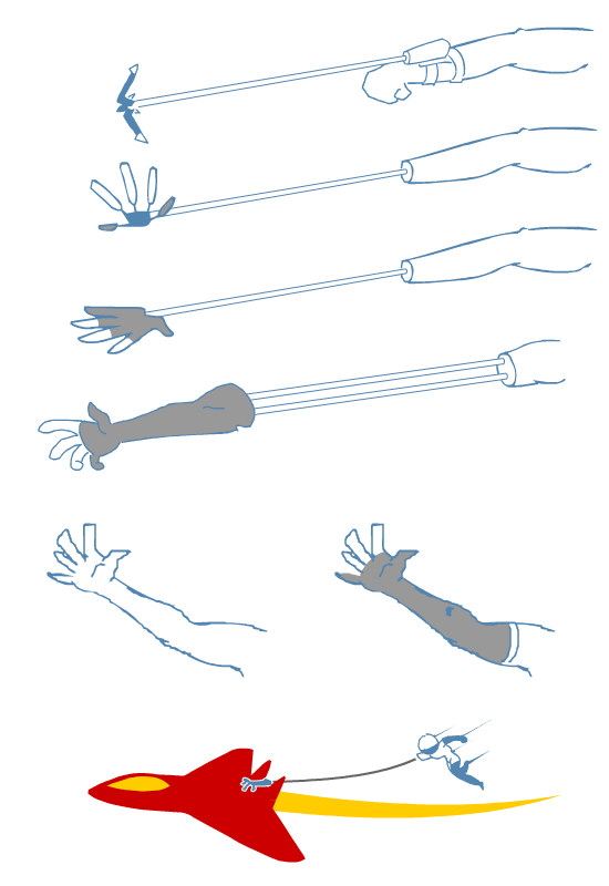 Grappling hook concepts. Detaching the full arm was the craziest idea, so that's in.
