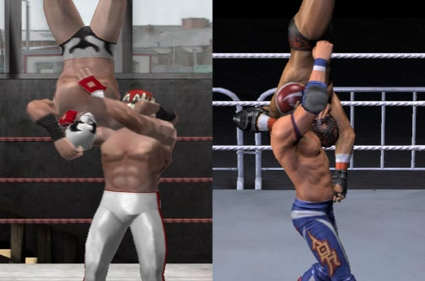 A before-and-after look at the improvements between our first release, Uprising (left) and the alpha of Pro Wrestling X. Animations are more accurate, and the graphics have much more detail.