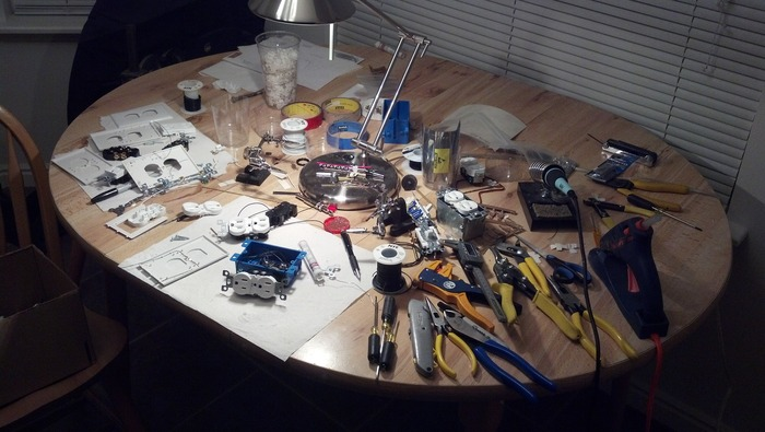 Prototyping the first SnapRays Guidelights on Jeremy's kitchen table