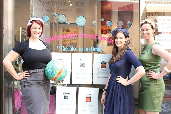 Scientists, Jana Grcevich, Renee Hlozek, and Olivia Koski, at the Intergalactic Travel Bureau's Manhattan debut.