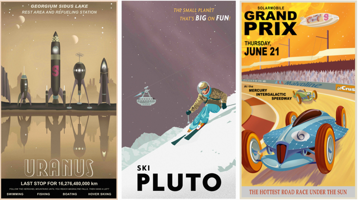 Supporters can choose postcards or posters from a selection of six pieces of original space art. A snap-shot from an orbiting space dock in the upper atmosphere of Uranus, or action shots of you skiing on Pluto are ideal for that holiday photo album.