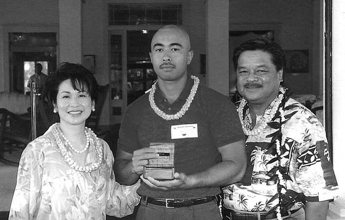 Kelly Pauole in 2002 receiving an award for volunteerism.