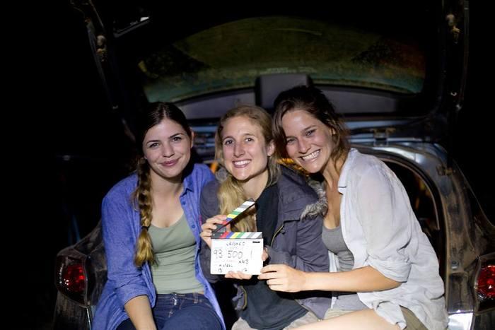 Girls on set. Millie Spencer-Brown (Harriet), Megan Riakos and Sarah Bishop (Ellia) on location for Crushed.