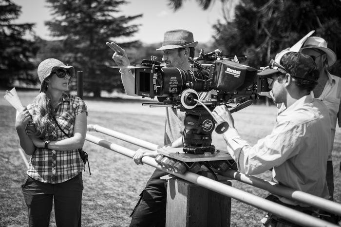 Director Megan Riakos, DOP Michael Steel and crew on location.