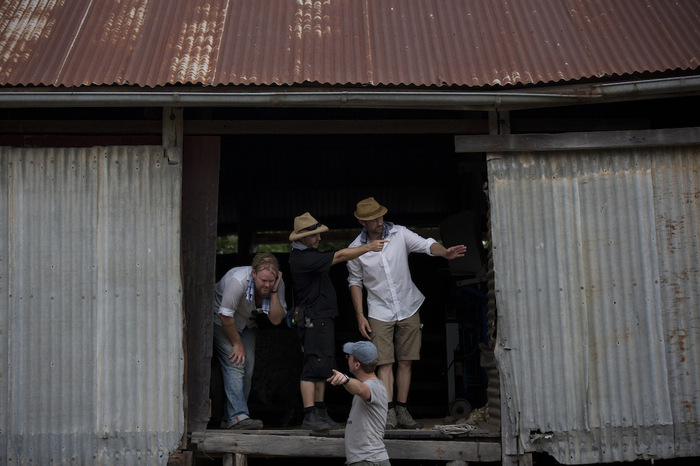 The crew on location in Mudgee.