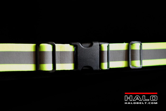 Front - 3M Super Reflectives with two adjustment clips and buckle