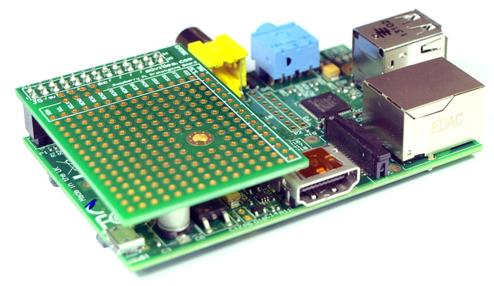 Prototyping board plugged into the Raspberry Pi