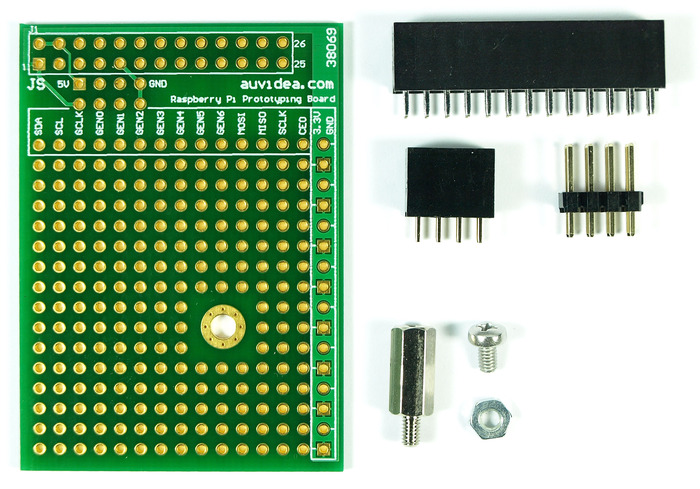 The prototyping board ships with 2 sockets (26 and 8 pin), a 8 pin header for the Raspbery Pi, and a 11mm metal standoff with M2.5 screw and nut.