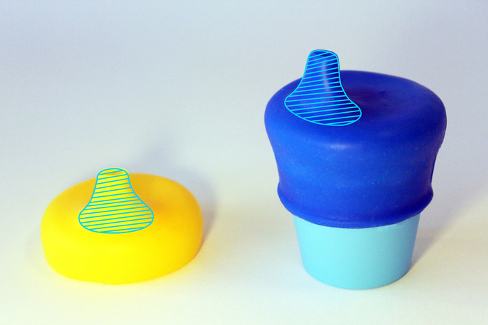 The outline indicates where SipSnap is co-molded with a harder chew-resistant silicone.