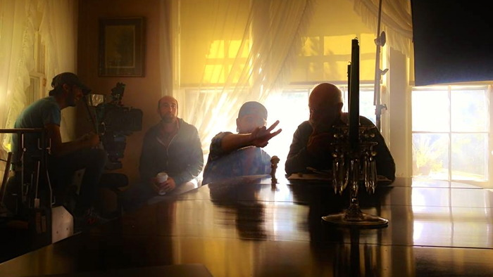 Director Rob Hamilton giving notes to Phil Amico on the set of The Suffering (Oct. 2013)