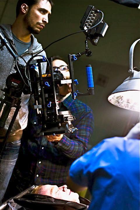 Cinematographer David Newbert on the set of KEY