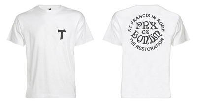 """Cotton t-shirt with the words """"Pax et Bonum"""" and the logo of the restoration"""